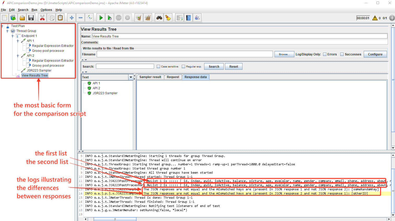 JMeter Script Tree & Logs